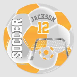 Golden Yellow and White Soccer Ball Classic Round Sticker