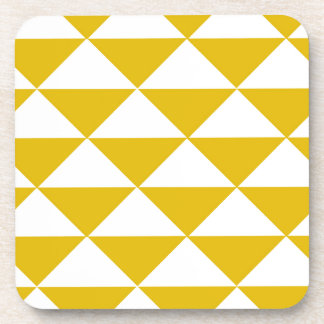 Golden Yellow and White Triangles Coaster