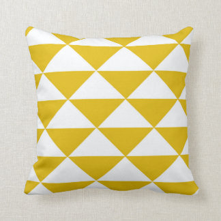 Golden Yellow and White Triangles Throw Pillow