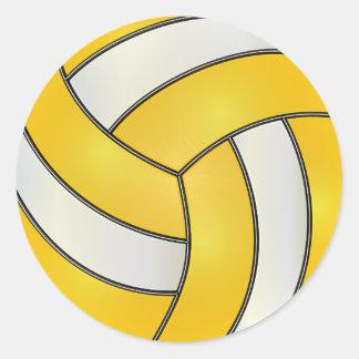 Golden Yellow and White Volleyball Round Sticker