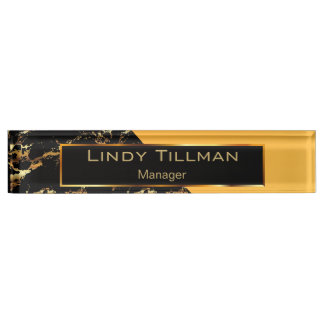 Golden Yellow, Black and Gold Marble Name Plate