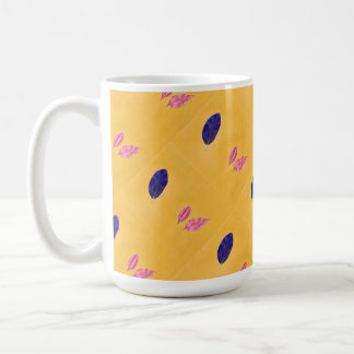 Golden Yellow, Blue, Pink Leaf Print Coffee Mugs