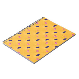 Golden Yellow, Blue, Pink Leaf Print Note Book