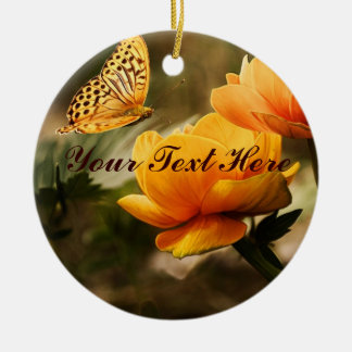 Golden Yellow Butterfly Ceramic Ornament