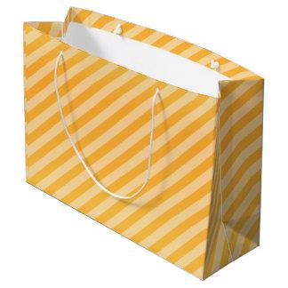 Golden Yellow Diagonal Stripe Pattern Large Gift Bag