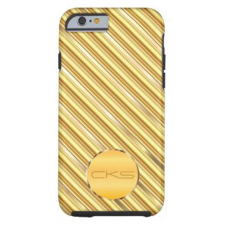 Golden Yellow Diagonal Stripes and Gold | Monogram Tough iPhone 6 Case