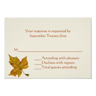 Golden Yellow Fall Leaf Wedding RSVP Response Card