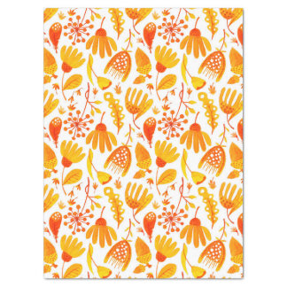 Golden Yellow Fall Leafs & Foliage Pattern Tissue Paper