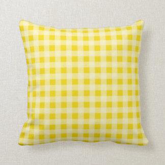 Golden Yellow Gingham; Checkered Cushion