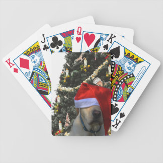 Golden Yellow Labrador in Santa Hat Christmas Bicycle Playing Cards