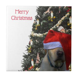 Golden Yellow Labrador in Santa Hat Christmas Ceramic Tile