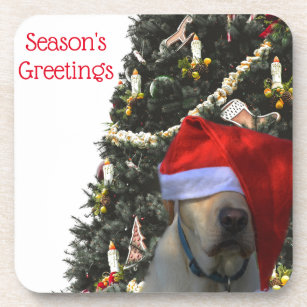 Golden Yellow Labrador in Santa Hat Christmas Coaster