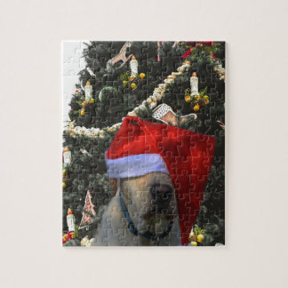 Golden Yellow Labrador in Santa Hat Christmas Jigsaw Puzzle