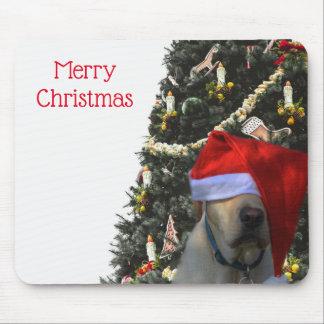 Golden Yellow Labrador in Santa Hat Christmas Mouse Pad