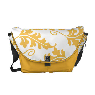 Golden Yellow Leaf Bold Botanical Nature Pattern Courier Bags