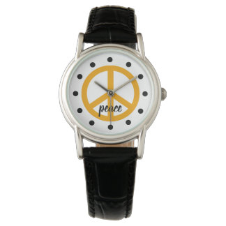 Golden Yellow Peace Symbol Personalized Watch