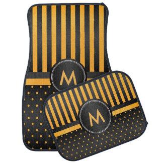 Golden Yellow polka Dots and Black Stripes Car Mat