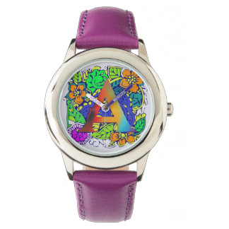 Golden Yellow Purple Shade Initial A Cute Floral Watch