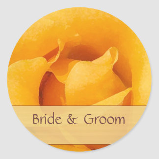 Golden Yellow Rose Bride & Groom Stickers
