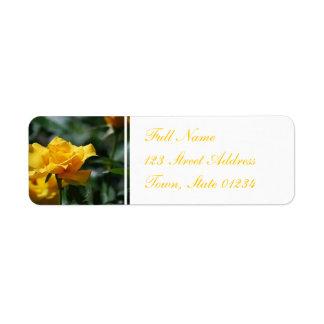 Golden Yellow Rose Bud Mailing Label Return Address Label