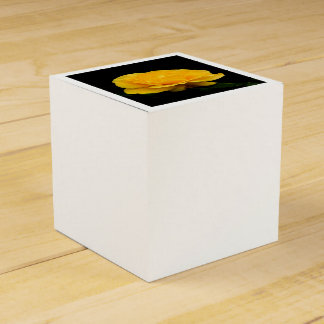 Golden Yellow Rose Isolated on Black Background Favour Box