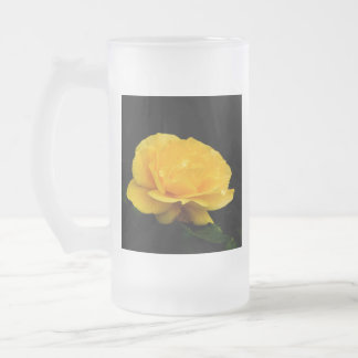 Golden Yellow Rose Isolated on Black Background Frosted Glass Beer Mug
