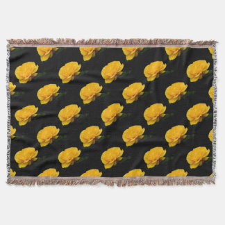 Golden Yellow Rose Isolated on Black Background Throw Blanket