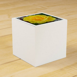 Golden Yellow Rose with Garden Background Favour Box