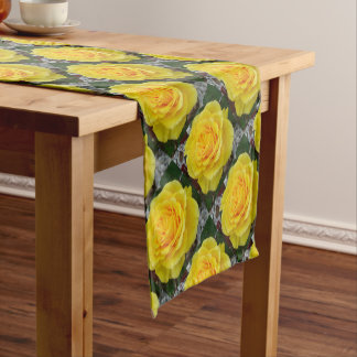 Golden Yellow Rose with Garden Background Short Table Runner
