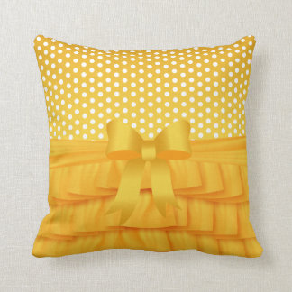 Golden Yellow Satin Ruffle and Bow with Polka Dots Throw Pillow