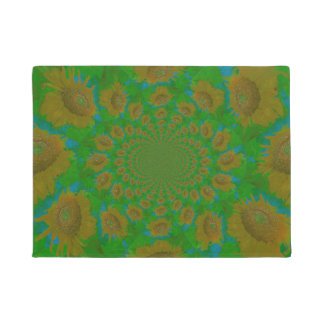 Golden Yellow Sunflowers Green And Blue Pop Art Doormat