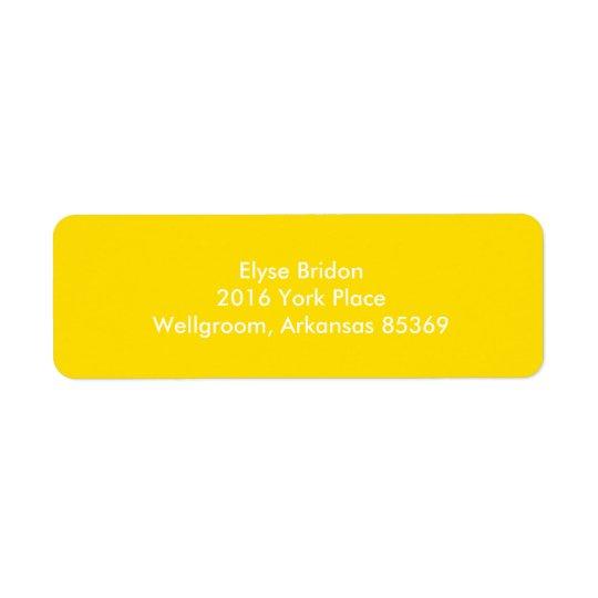 Golden Yellow Top Colour Coordinating Return Address Label