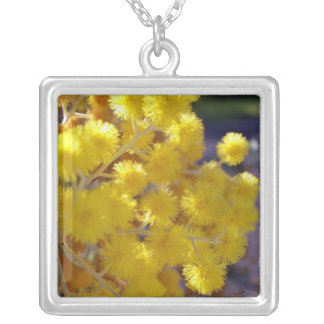 Golden Yellow wattle up close Personalized Necklace