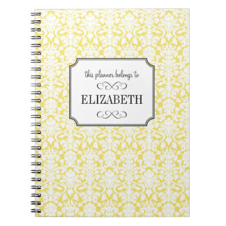 Golden yellow white damask wedding planner journal