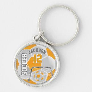 Golden Yellow & White Team Soccer Ball Key Ring