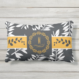 Golden Yellow with Charcoal Grey Monogram Outdoor Cushion
