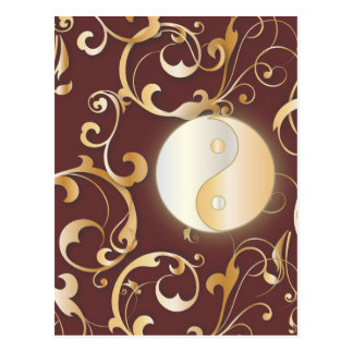 Golden Yin & Yang with scrolls Postcard
