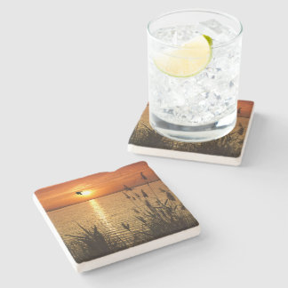 Golden Zen Sunset Stone Coaster