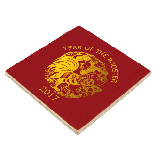 Golden Zodiac 2017 Rooster Year Wooden Coaster Wood Coaster