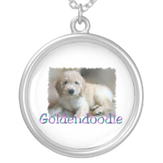 Goldendoodle Art Silver Plated Necklace