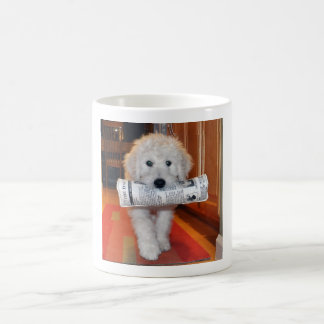 Goldendoodle carrying newspaper toy mug