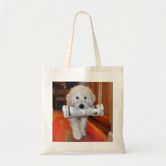 Goldendoodle carrying newspaper toy tote