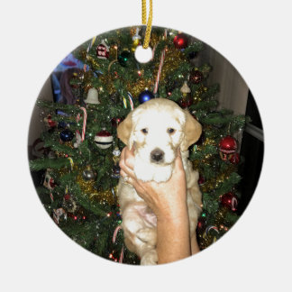 GoldenDoodle Puppy With Christmas Tree Ceramic Ornament
