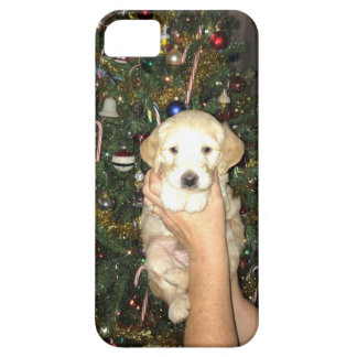 GoldenDoodle Puppy With Christmas Tree iPhone 5 Cases