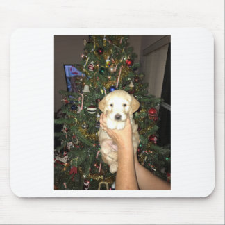 GoldenDoodle Puppy With Christmas Tree Mouse Pad
