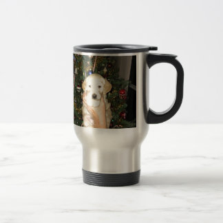 GoldenDoodle Puppy With Christmas Tree Travel Mug