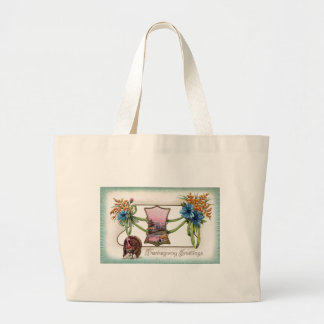 Goldenrod and Turkey Vintage Thanksgiving Tote Bags