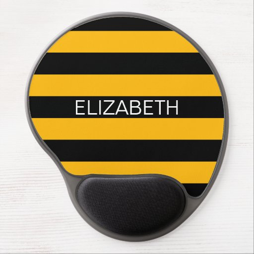 Goldenrod Black Horiz Preppy Stripe Name Monogram Gel Mouse Mat