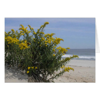 Goldenrod Bush by the Sea with Monarch Butterflies Greeting Card