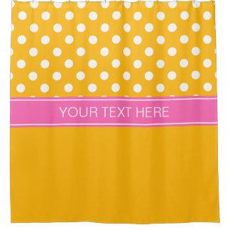 Goldenrod White LG Dot Hot Pink CB Name Monogram Shower Curtain